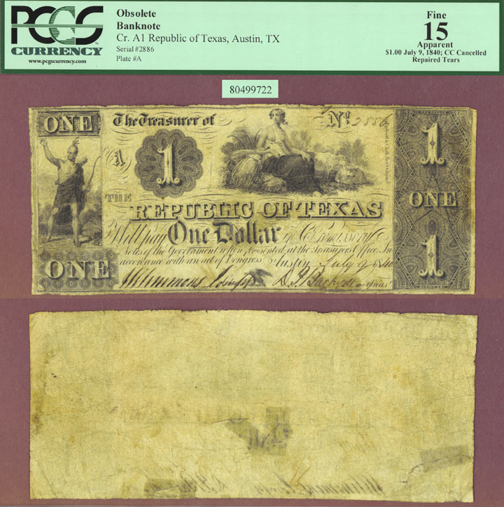 Republic of Texas - $1.00 A1 PCGS Fine 15