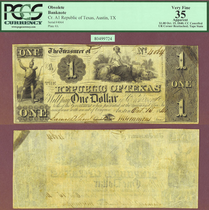 Republic of Texas - $1.00 A1 PCGS Very Fine 35
