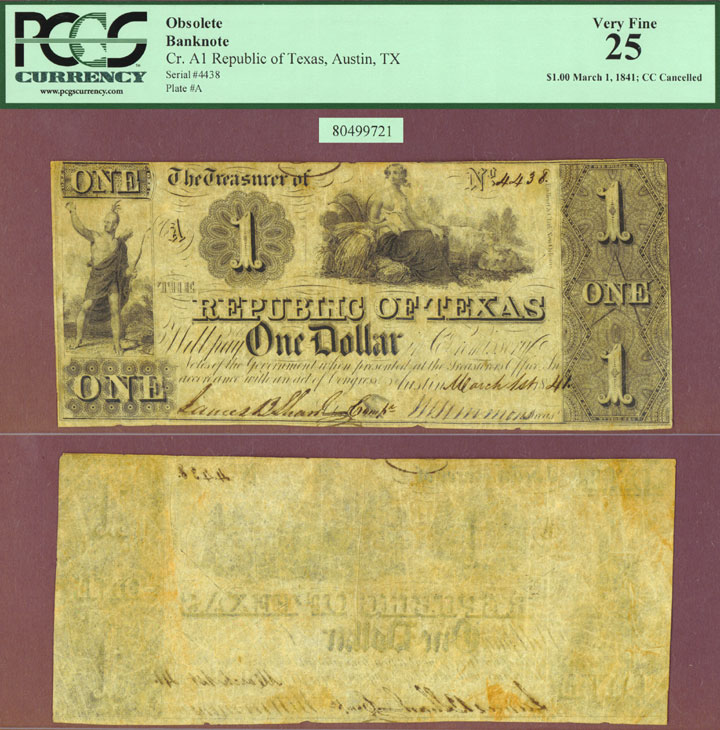 Republic of Texas - $1.00 A1 PCGS Very Fine 25