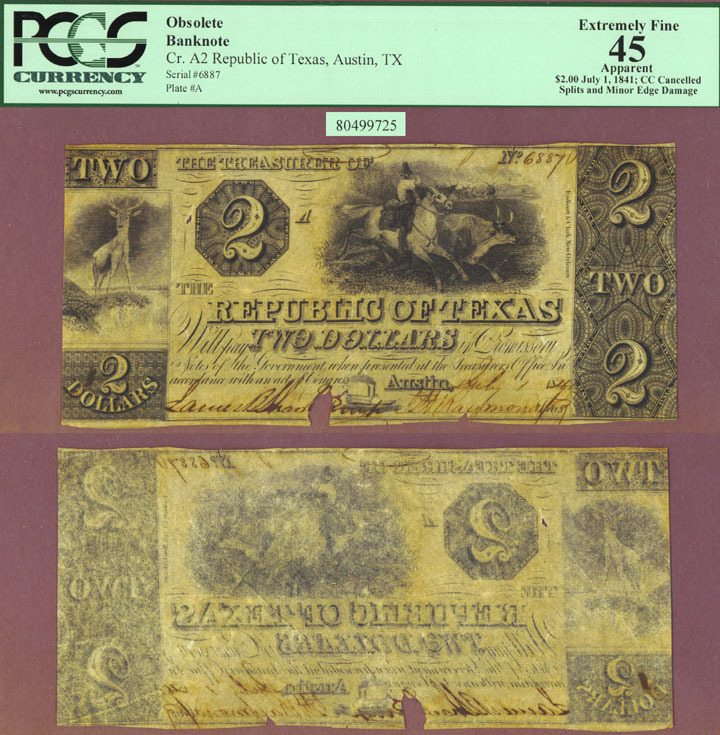 Republic of Texas - $2.00 A2 PCGS Extremely Fine 45