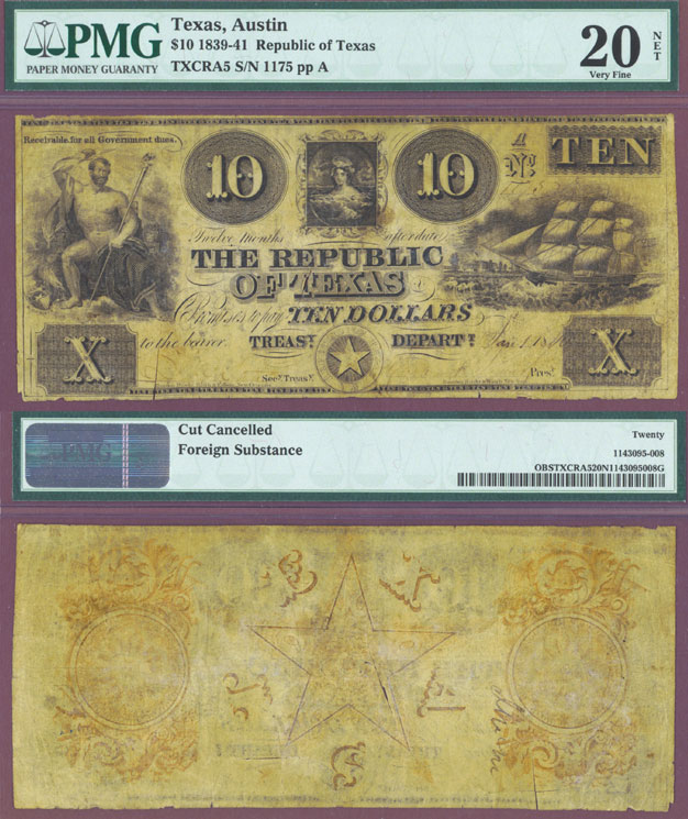 Republic of Texas - $10.00 A5 PMG Very Fine 20