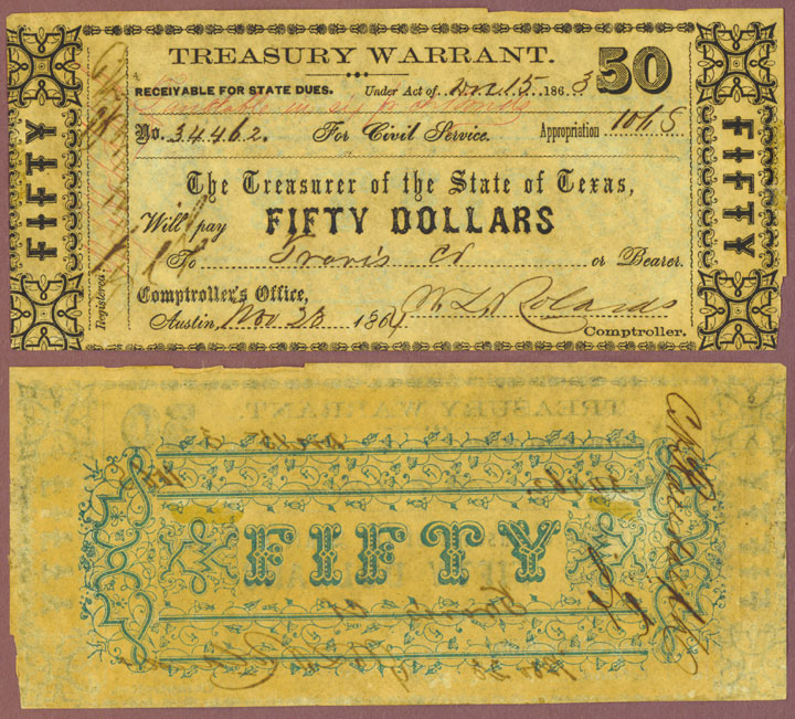 Texas $50.00 CR-32A civil war warrant