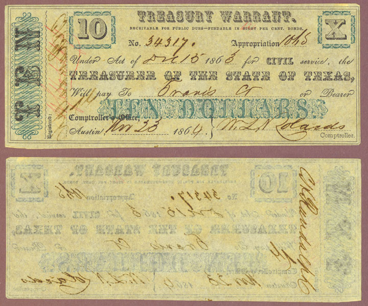 Texas $10.00 CR-20A Texas Civil War Warrant