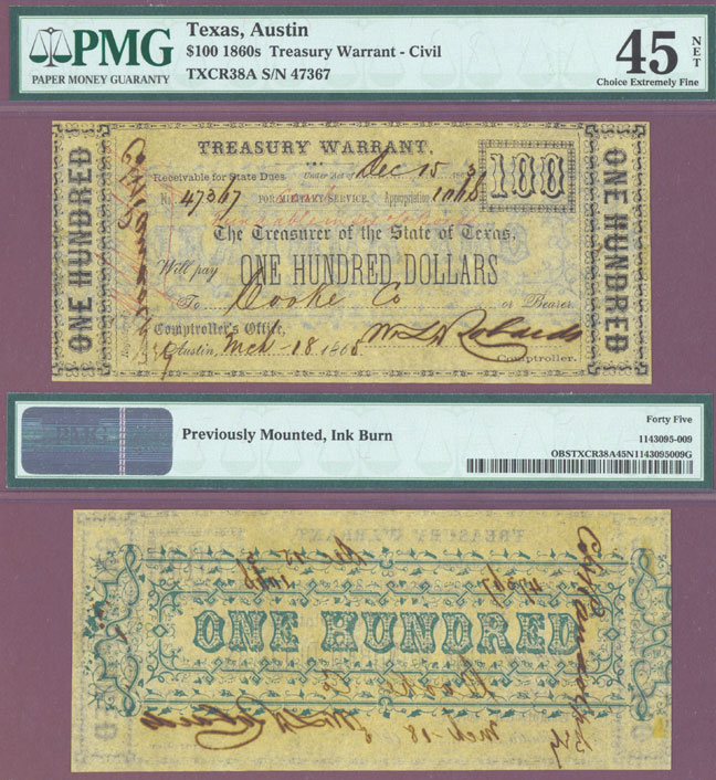 Texas $100.00 CR-38A Civil War Warrant PMG Extremely Fine 45