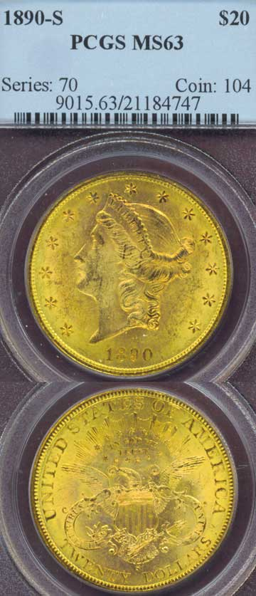 1890-S $20.00 US gold coins double eagle PCGS Mint State 63