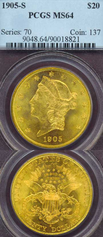 1905-S $20.00 US gold coins double eagle PCGS Mint State 64