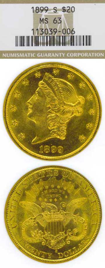 1899-S $20.00 US gold coins double eagle