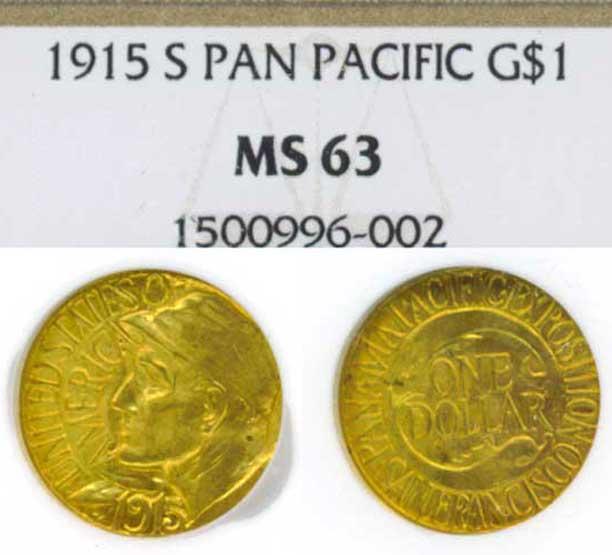 "1915-S $1.00 ""Panama Pacific"" NGC MS-63"