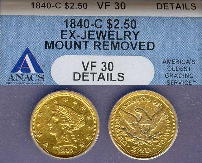 1840-C $2.50 US Quarter Eagle Gold coin