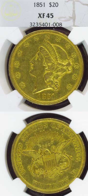 1851 Type 1 $20.00 US Gold coin double eagle NGC Extremely Fine 45