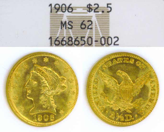 1906 $2.50 US Quarter Eagle Gold coin