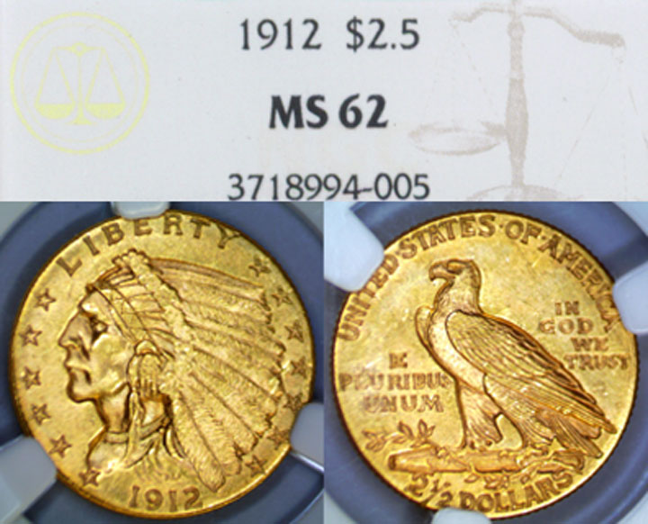 1912 $2.50 Indian US quarter eagle gold coin NGC MS-62