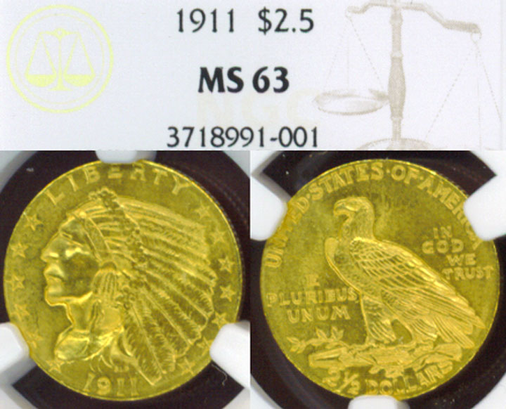 1911 $2.50 Indian us quarter eagle gold coin NGC MS-63