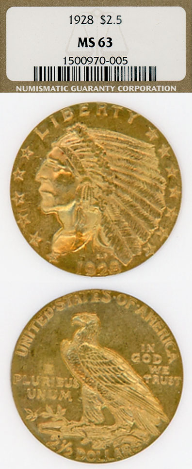 1928 $2.50 Indian US Indian head quarter eagle gold coin NGC MS 63