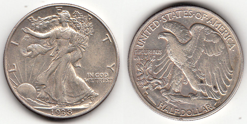 1938-D Walking Liberty Half Dollar, US silver half dollar