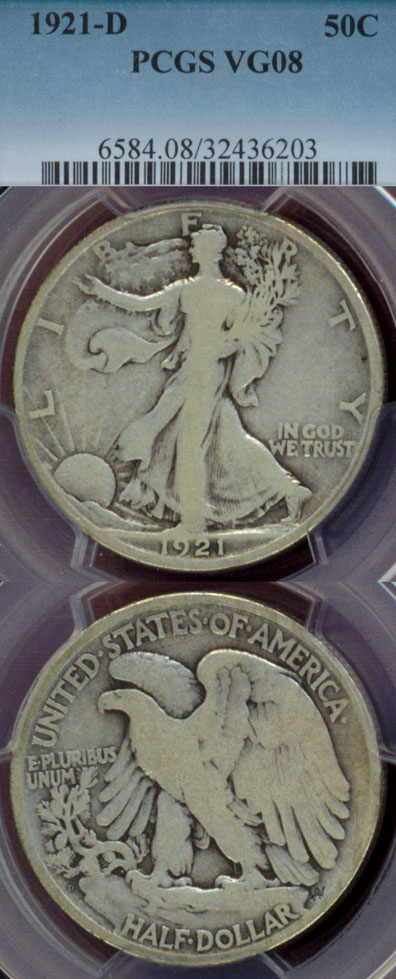 1921-D 50c Key Date Walking Liberty Half Dollar
