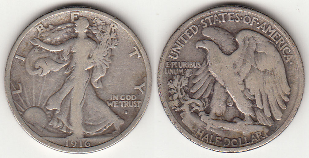 1916-S 50c US silver walking liberty half dollar obverse mint mark