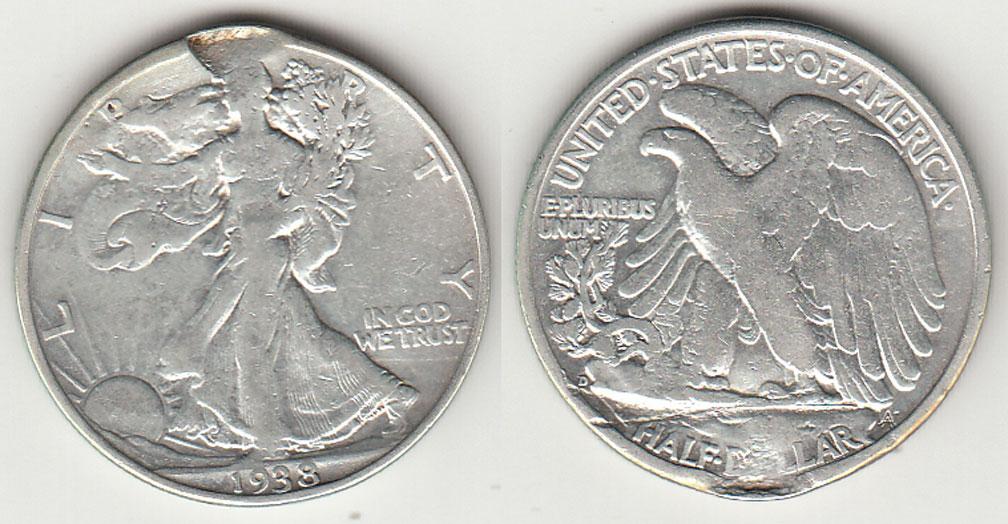 1938-D 50c US walking liberty half silver dollar