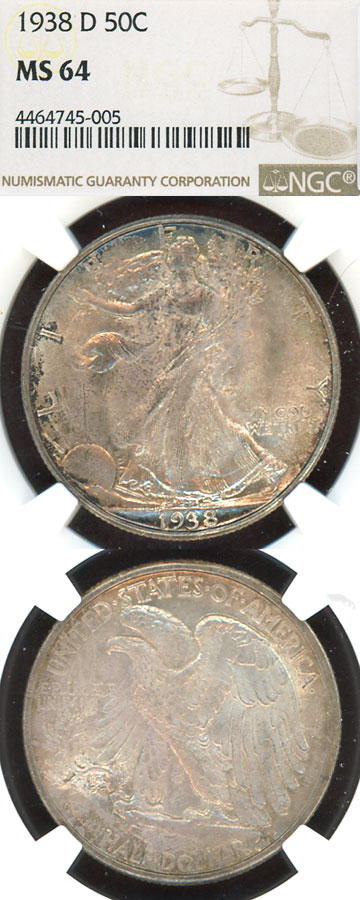 1938-D 50c US liberty walking silver half dollar NGC MS-64