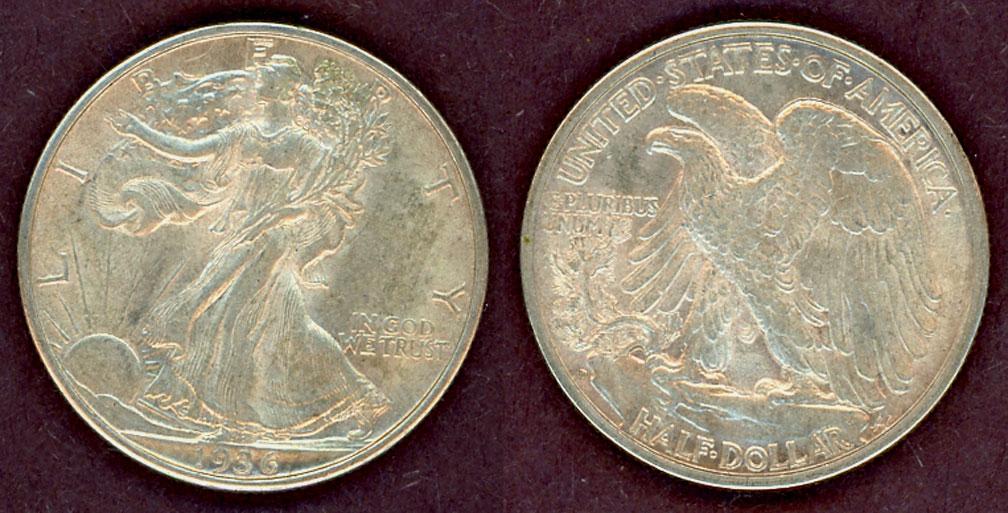 1936-D 50c US Walking Liberty silver half dollar AU