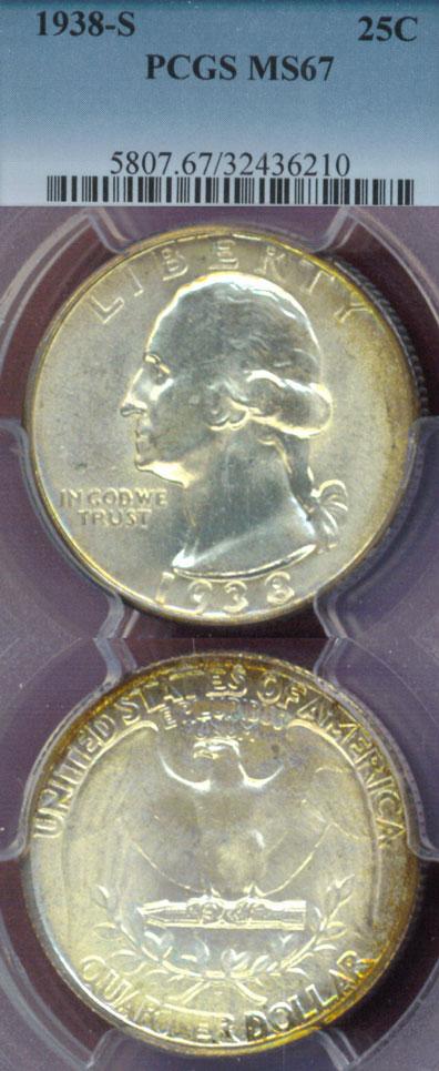 1938-S 25c US Washington quarter PCGS MS67