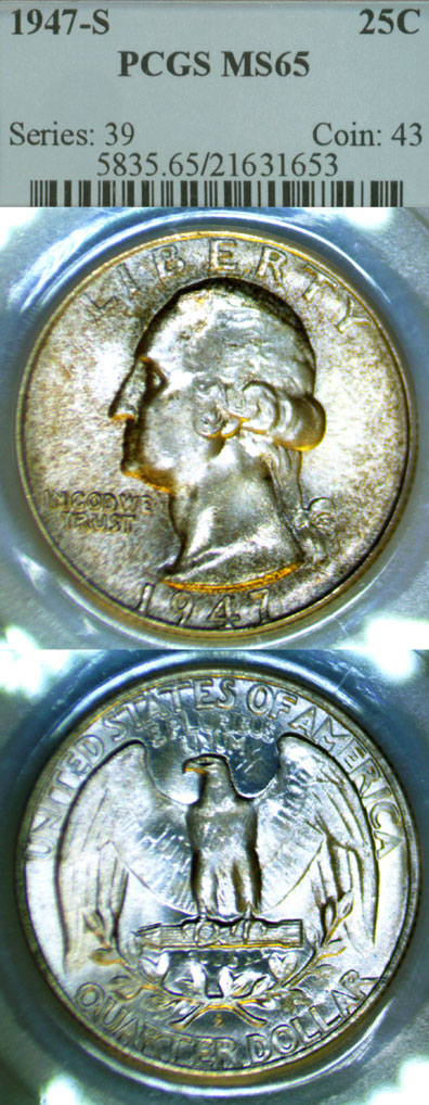 1947-S 25c US silver Washington quarter PCGS MS 65