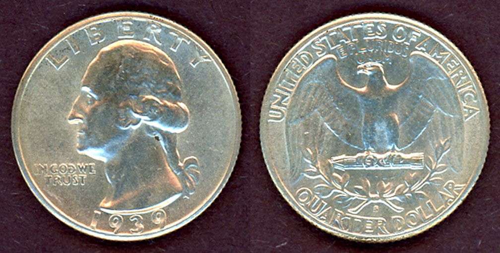 1939-S 25c US Washington silver quarter