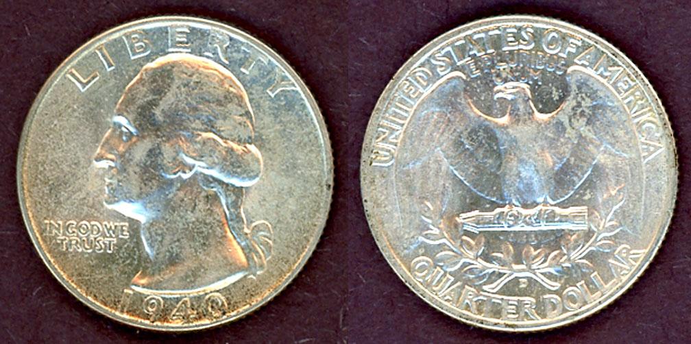 1940-D 25c US Washington silver quarter