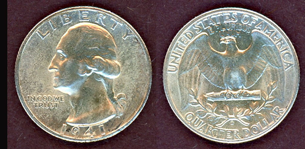 1941-D 25c US Washington silver quarter