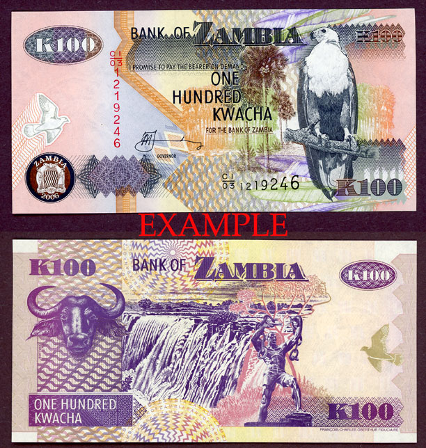 2006 100 Kwacha collectable paper money Zambia