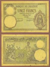 1941 20 Francs Algeria currency