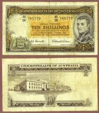 1961-65 10 Shillings Australia collectable currency