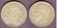 1868 5 Francs Belgium collectable silver coins