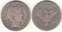 1893-S 50c US Barber silver half dollar