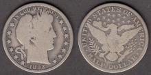 1892 50c US barber silver half dollar