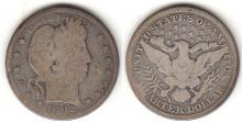 1892-S 25c US Barber silver quarter