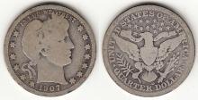 1907-D 25c US Barber silver Quarter