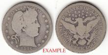 1916 25c US Barber silver quarter