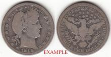 1915 25c US Barber silver quarter