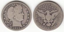 1915-S 25c US Barber silver quarter