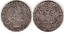 1914 25c US Barber silver quarter