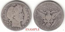 1912 25c US Barber silver quarter