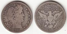 1911-D 25c US Barber silver quarter