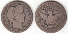 1912-S 25c US Barber silver quarter
