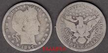 1897 25c US Barber silver quarter