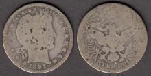 1897-S 25c US Barber silver quarter
