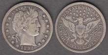 1892 25c US Barber silver quarter