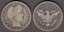 1905-O 25c US Barber silver quarter