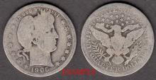 1906 25c US Barber silver quarter