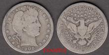 1906-D 25c US Barber silver quarter